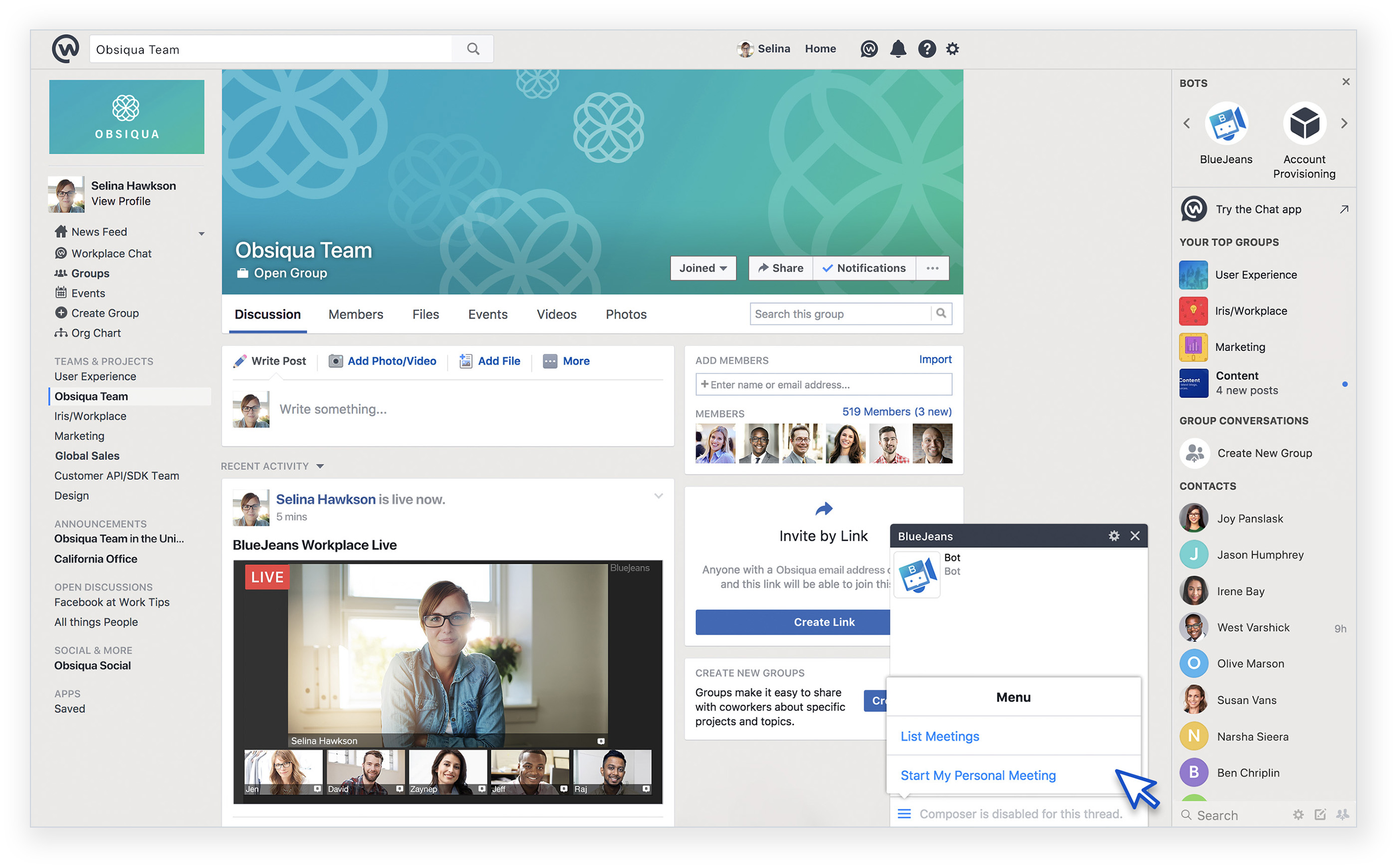 Live Streaming Meetings for Facebook Workplace