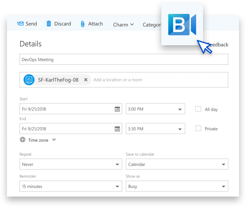 BlueJeans Video Conferencing for Microsoft Outlook