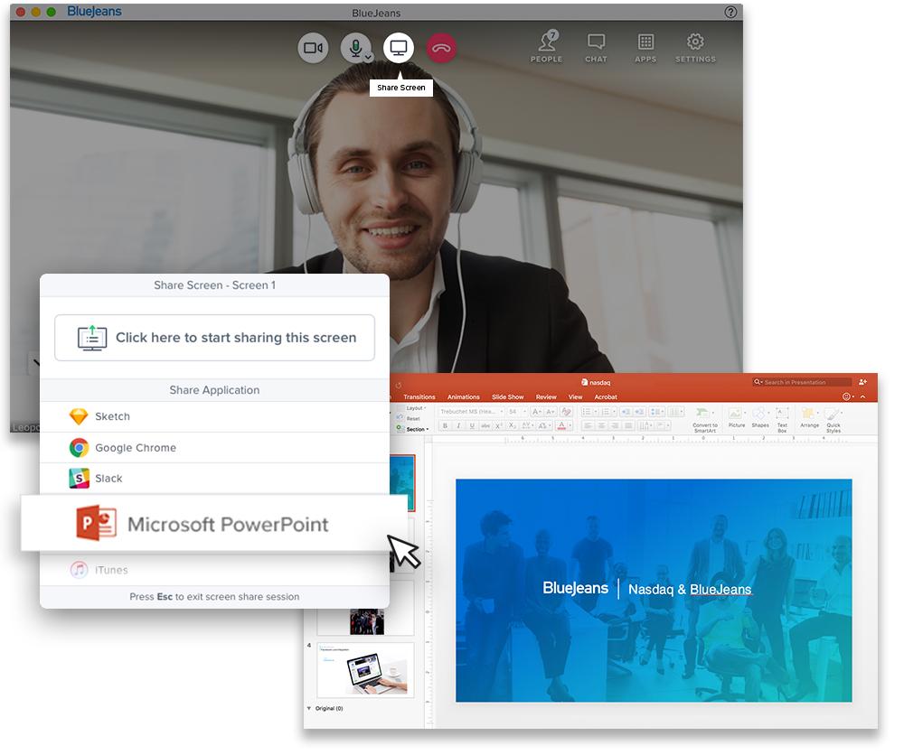 BlueJeans Online Meeting Screen Sharing